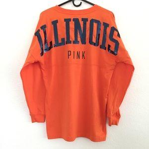 Pink Collegiate Illinois Bling Oversized Top Sz S